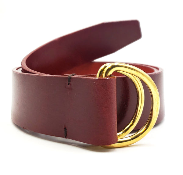 Burgundy Leather D Ring Belt - FH Wadsworth