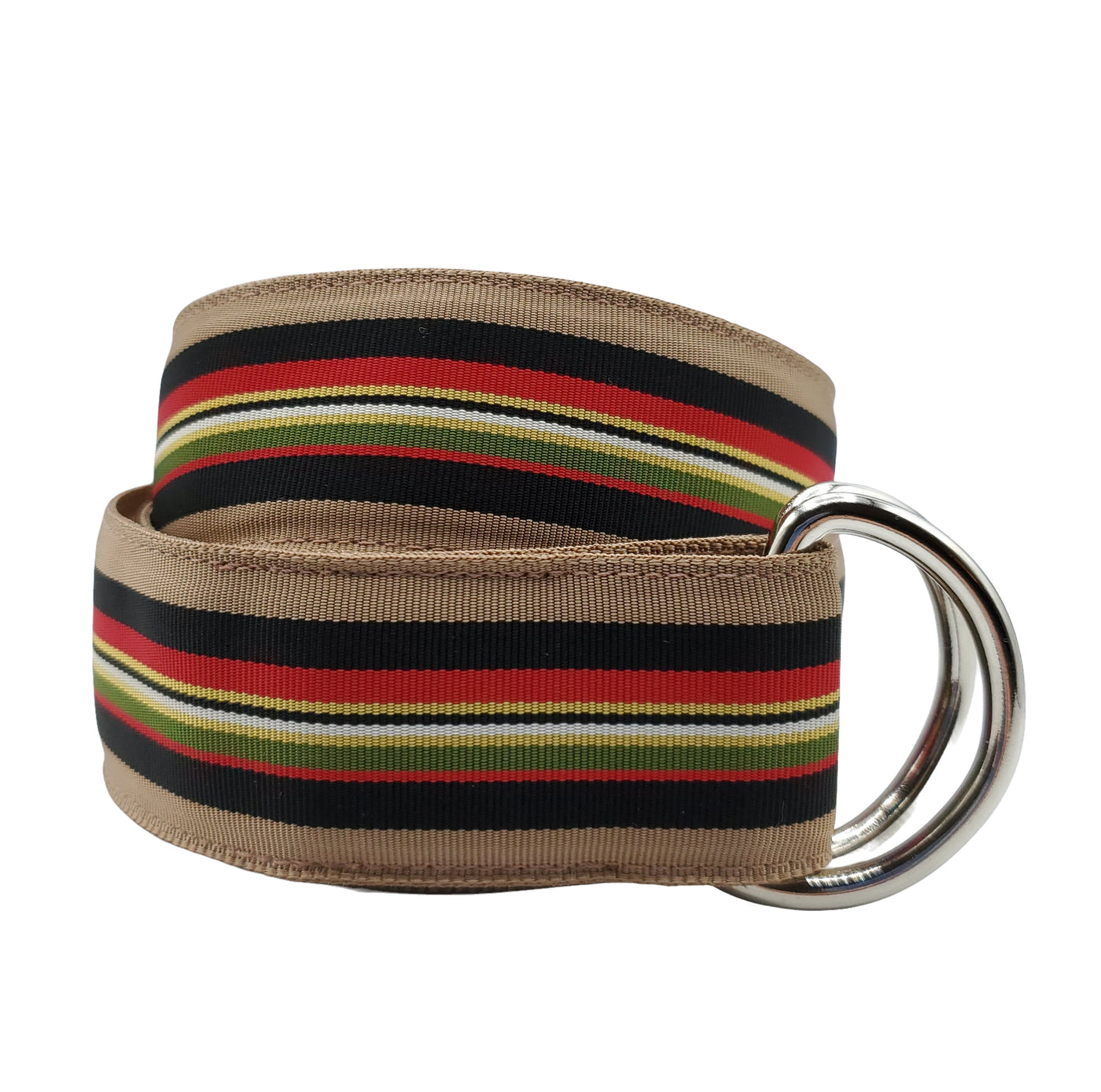 Multi-Colored Beige Black and Red Ribbon Belt