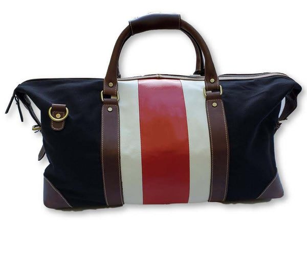 Black Canvas Striped Leather Duffle Bag - FH Wadsworth