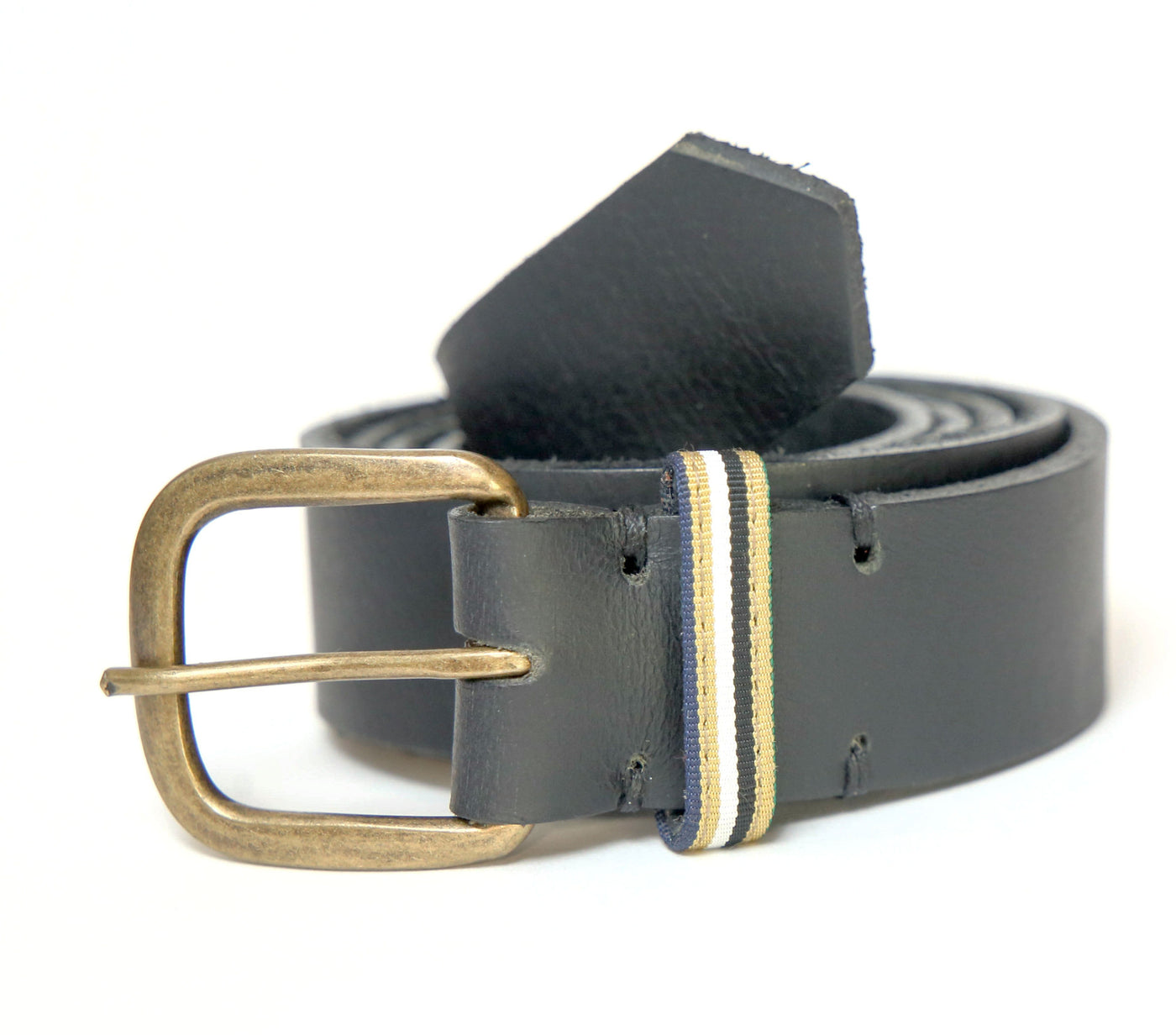 Black Leather Belt with Ribbon Accent - FH Wadsworth