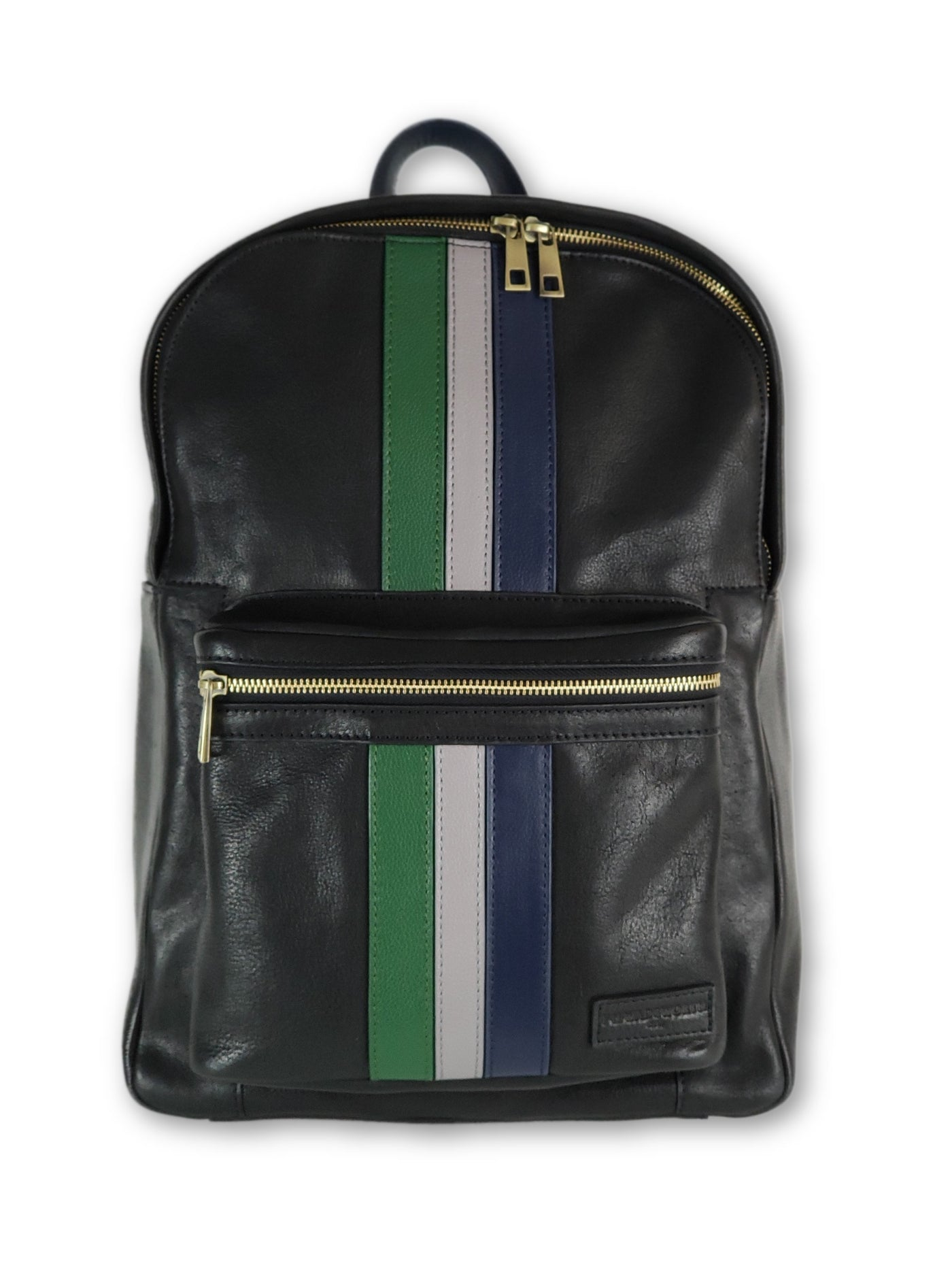 Black Leather Striped Backpack - FH Wadsworth