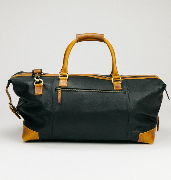 Black & Tan Leather Duffle Bag