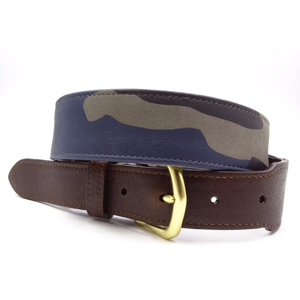 Blue Camouflage Leather Belt - FH Wadsworth