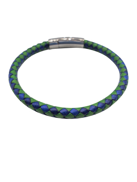 Blue & Green Braided Leather Bracelet