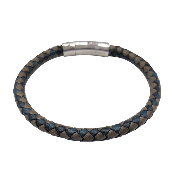 Blue & Grey Braided Leather Bracelet