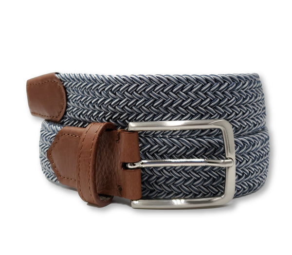 Blue Light Grey Elastic Stretch Belt - FH Wadsworth