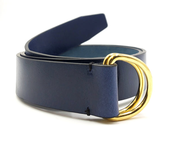 Blue Leather D Ring Belt - FH Wadsworth
