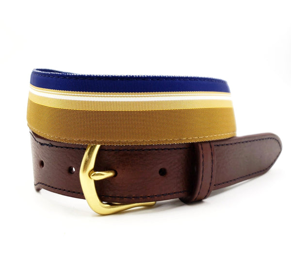 Blue & Gold Leather Tab Ribbon Belt - FH Wadsworth