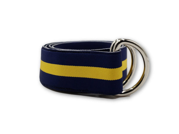 Blue & Yellow Striped Ribbon Belt - FH Wadsworth