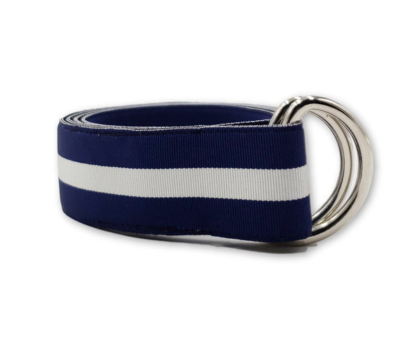 Blue & White Striped Ribbon Belt - FH Wadsworth