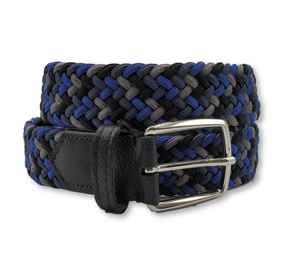 Black Blue Multi Colored Interwoven Elastic Stretch Belt - FH Wadsworth