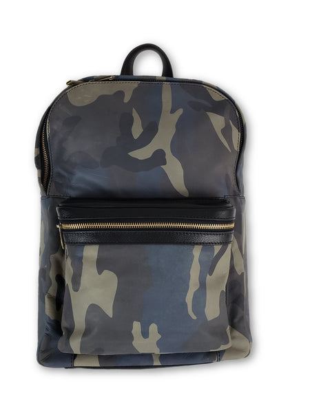 Blue Camo Leather Backpack - FH Wadsworth