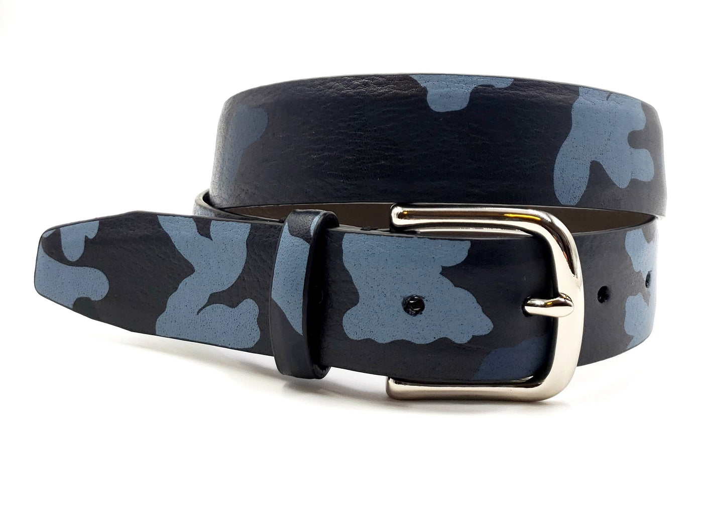 Blue Leather Camouflage Print Belt - FH Wadsworth