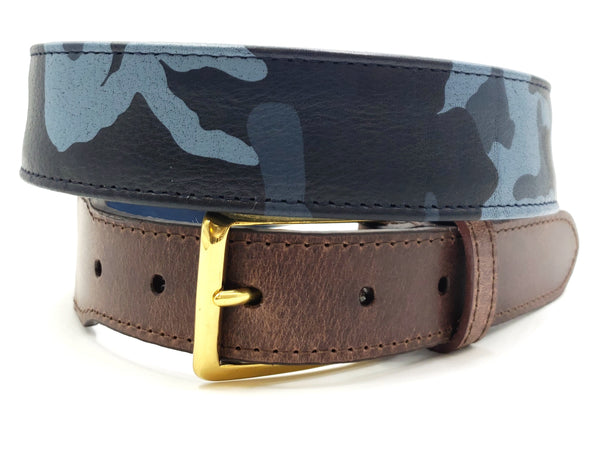 Light Blue Camouflage Print Leather Belt - FH Wadsworth
