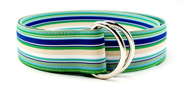 Blue Lagoon Striped Ribbon Belt - FH Wadsworth