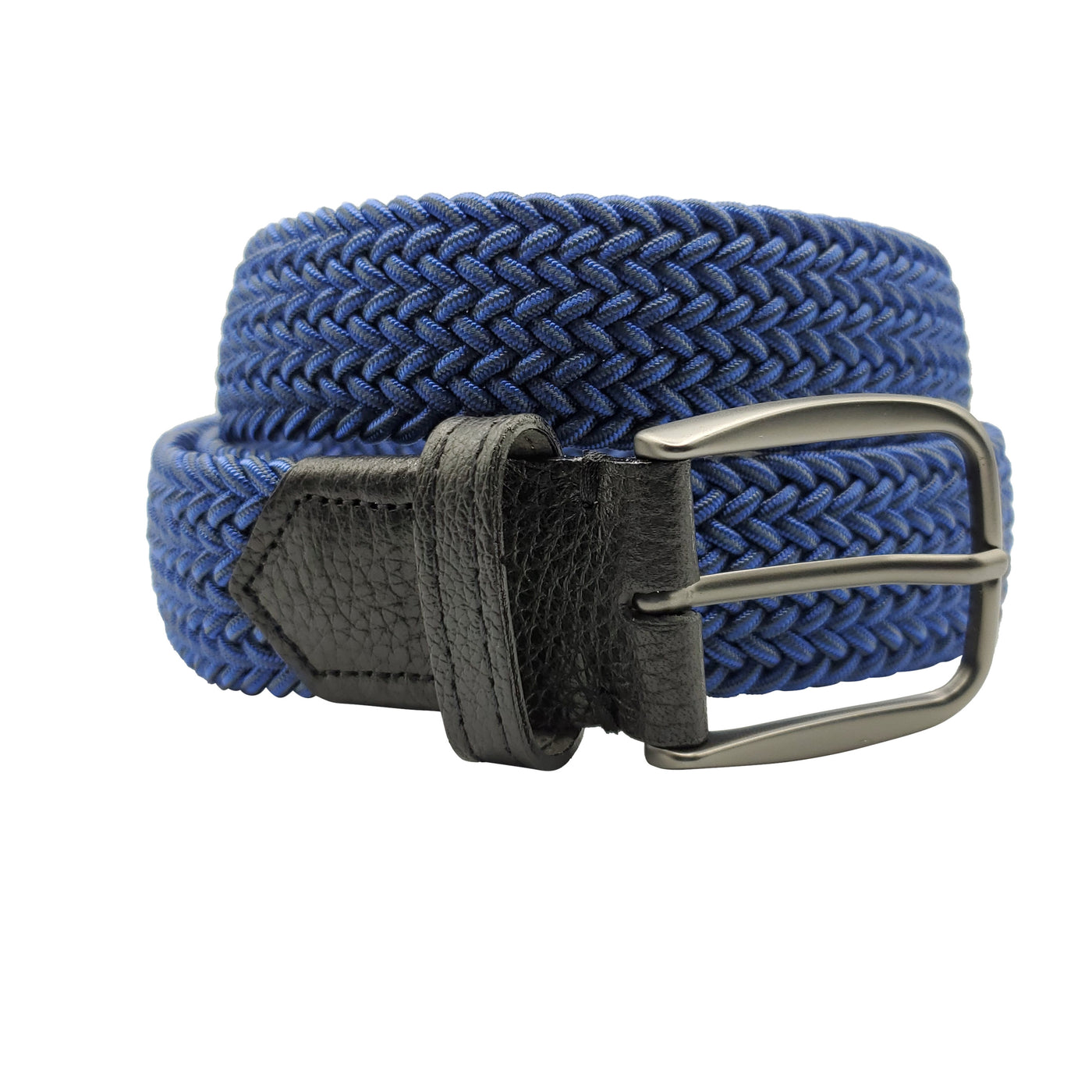 Royal Blue Grey Elastic Stretch Belt