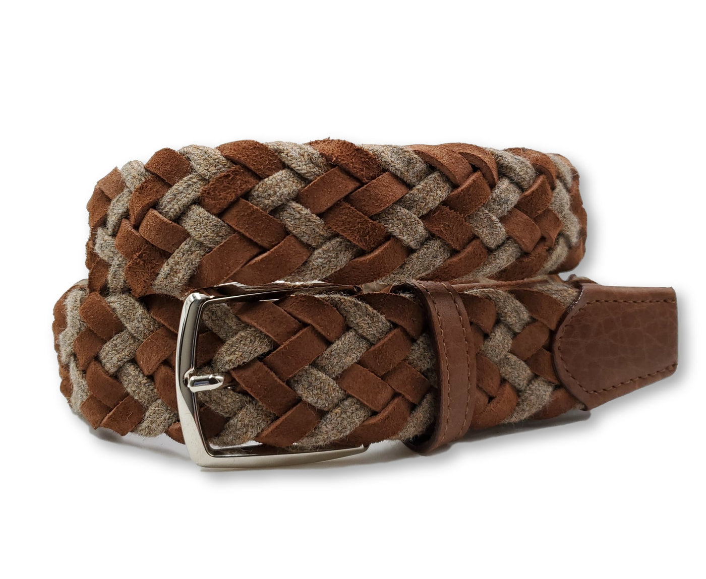 Braided Wool & Suede Belt - FH Wadsworth