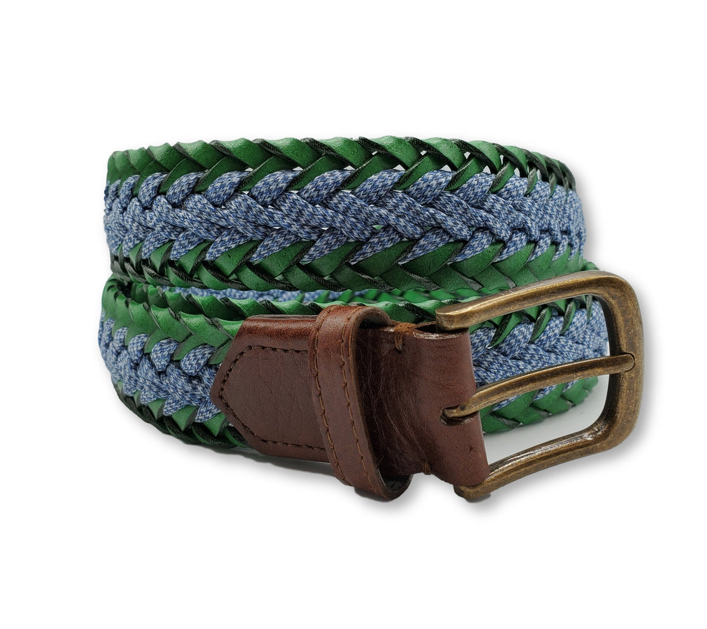 Braided Blue and Green Belt - FH Wadsworth