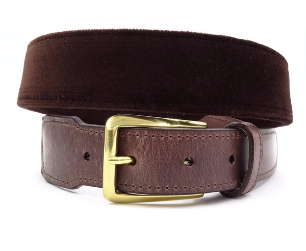 Brown Velvet Leather Tab Belt - FH Wadsworth
