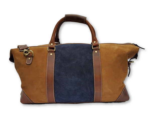Light Blue & Brown Suede Leather Duffle Bag - FH Wadsworth