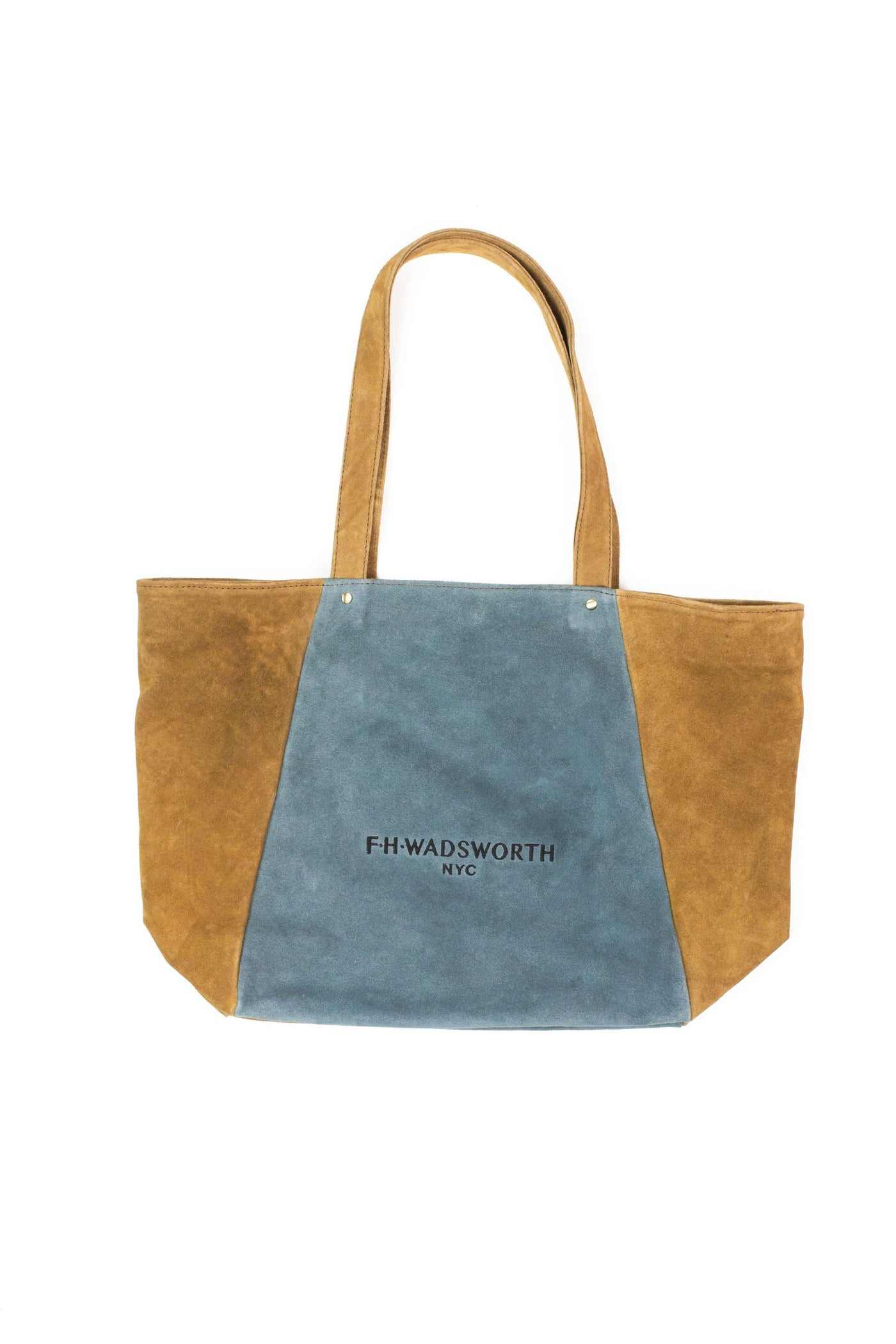 Brown & Blue Suede Tote Bag