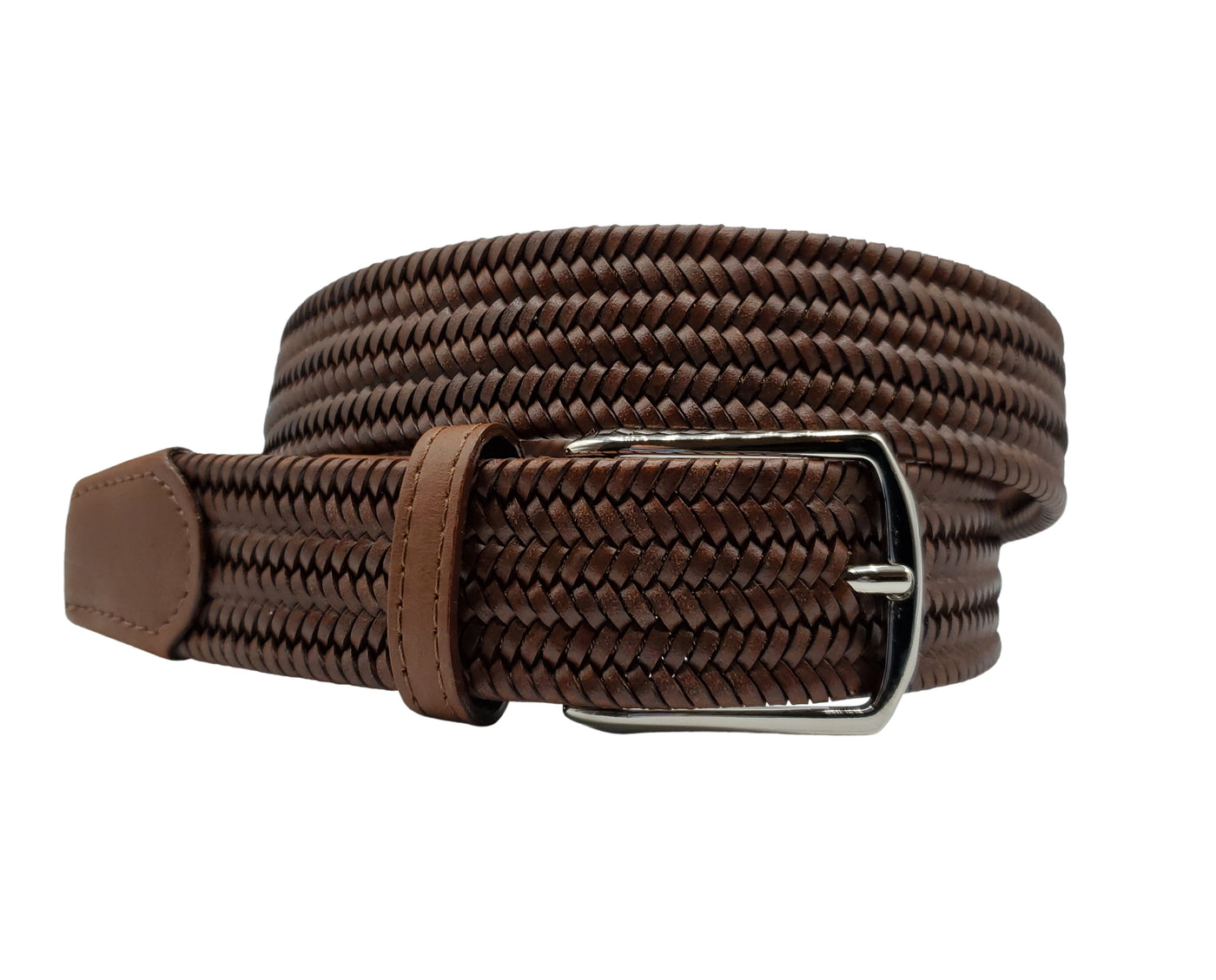 Brown Leather Stretch Belt