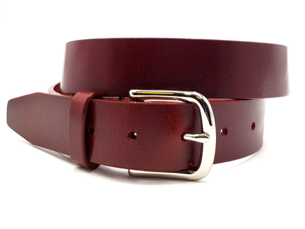 Deep Burgundy Leather Belt - FH Wadsworth