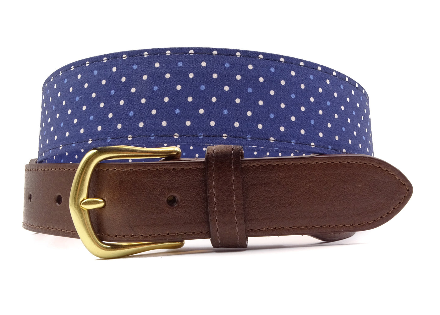 Blue & White Polka Dot Cotton Leather Tab Belt - FH Wadsworth