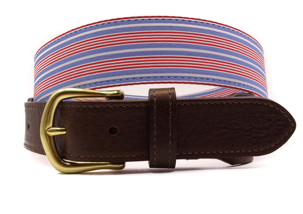 Striped Red White Blue Cotton Leather Tab Belt - FH Wadsworth