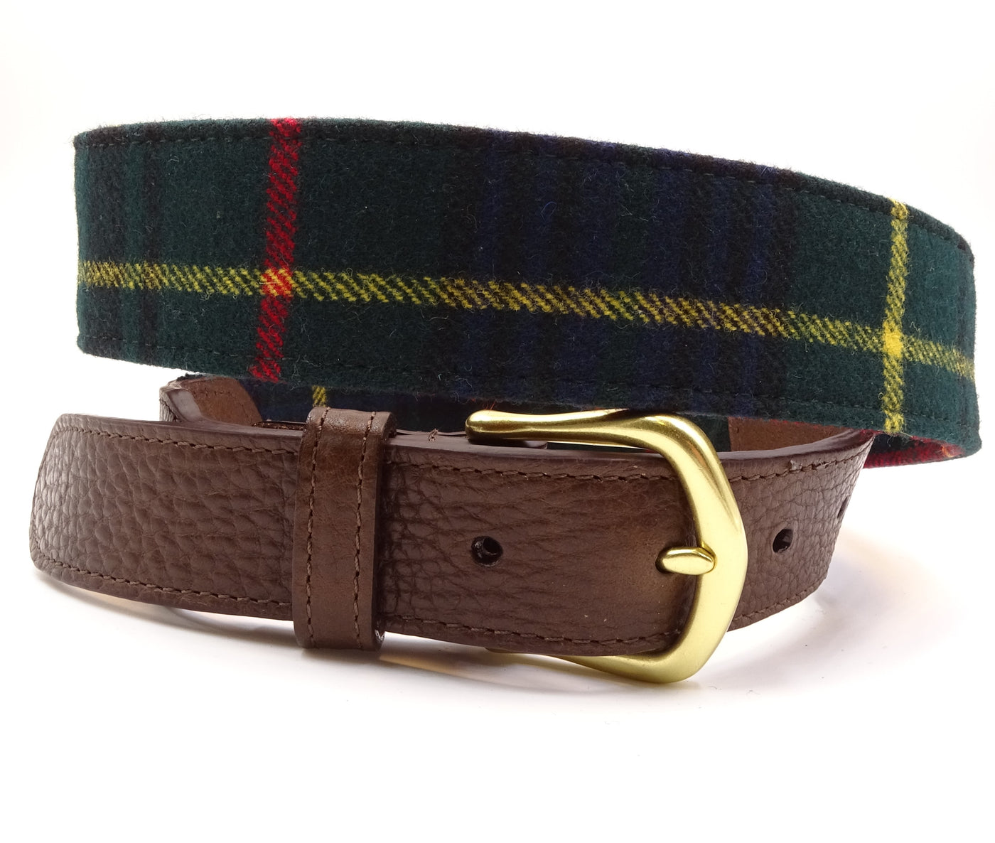 Edinburgh Green & Yellow Wool Leather Tab Belt - FH Wadsworth