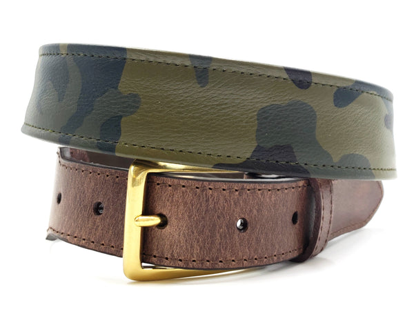 Green Camouflage Leather Belt - FH Wadsworth