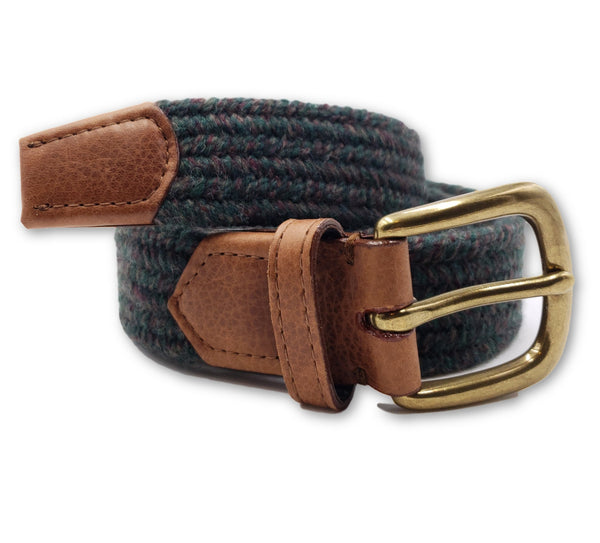 Green Multi Color Wool Stretch Belt