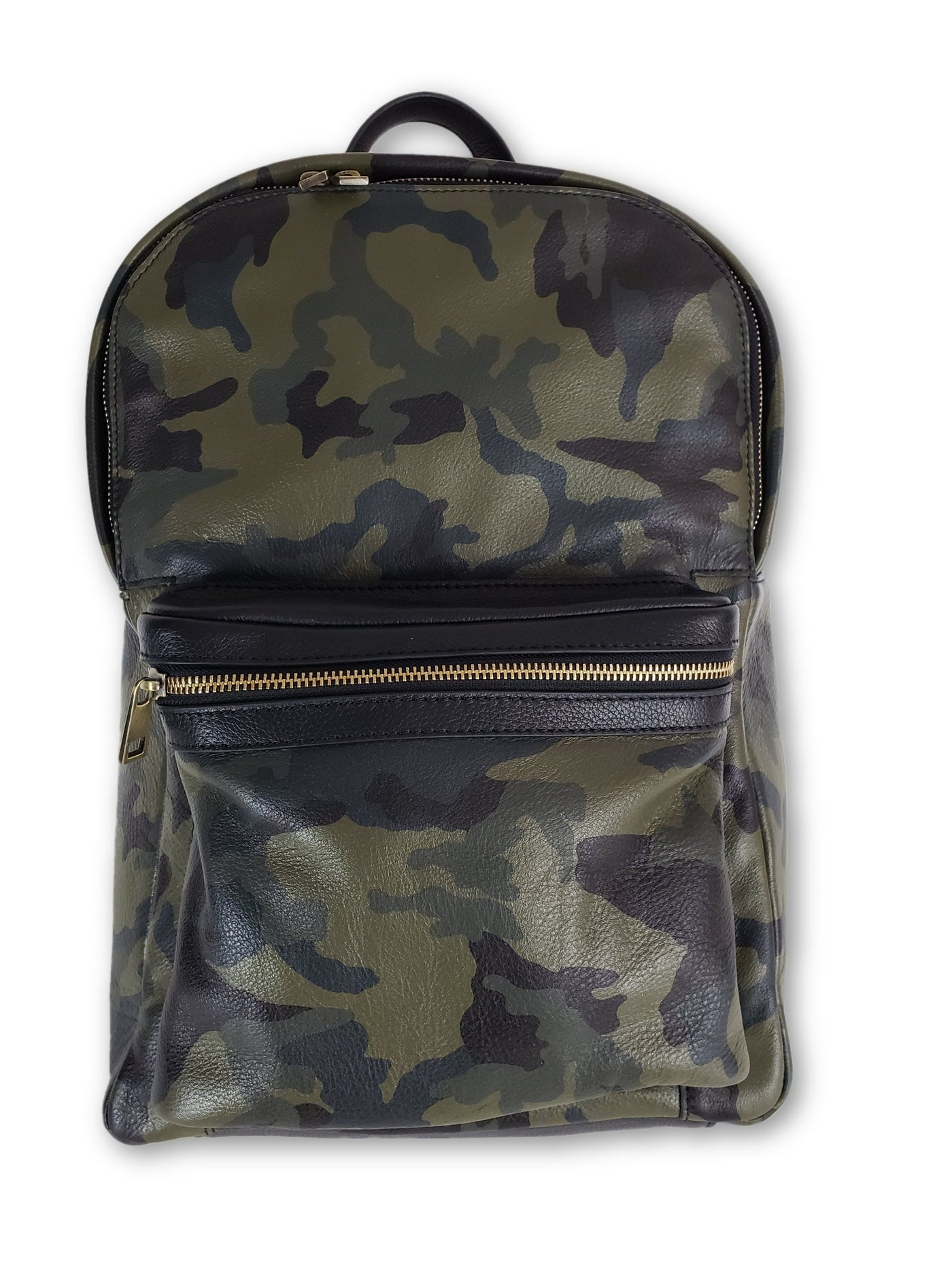 Green Camo Leather Backpack - FH Wadsworth