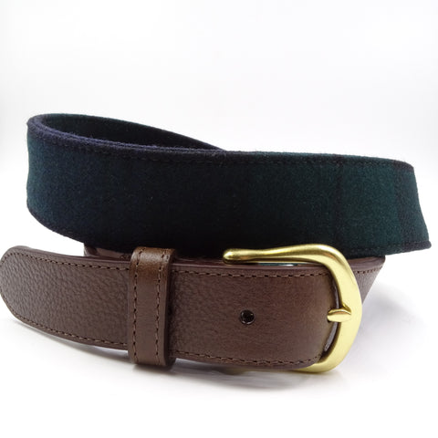 Black Forest Blue & Green Wool Leather Tab Belt - FH Wadsworth