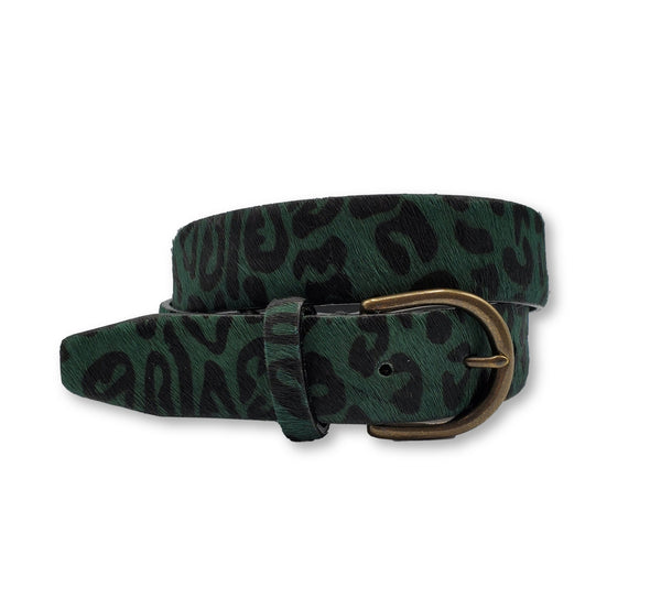 Green and Black Leopard Print Belt - FH Wadsworth