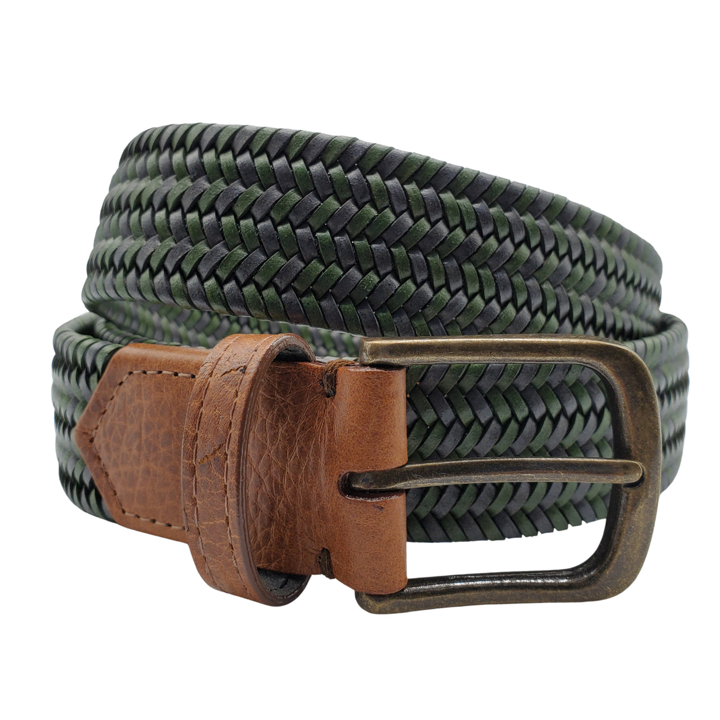 Green & Grey Leather Stretch Belt
