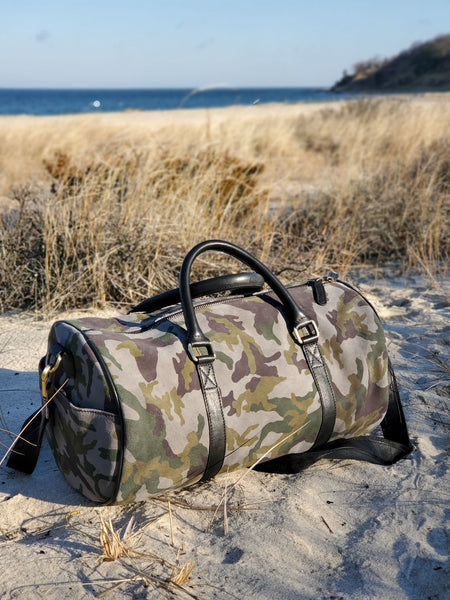 Green Camouflage Suede Duffel Bag