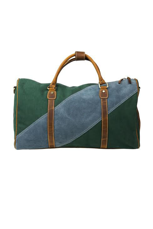 Green Canvas & Blue Suede Duffel Bag