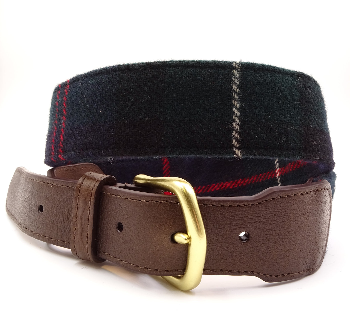 Highland Blue & Green Wool Tartan Leather Tab Belt - FH Wadsworth