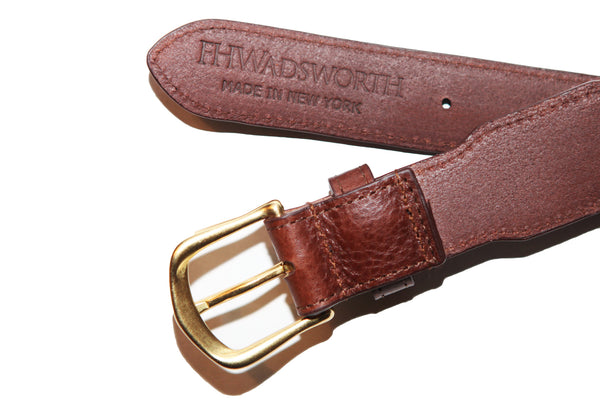 Gold Intrepid Leather Tab Ribbon Belt - FH Wadsworth