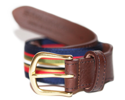 Kingfisher Leather Tab Ribbon Belt - FH Wadsworth