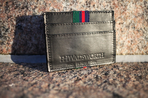 Black Striped Leather Card Holder - FH Wadsworth