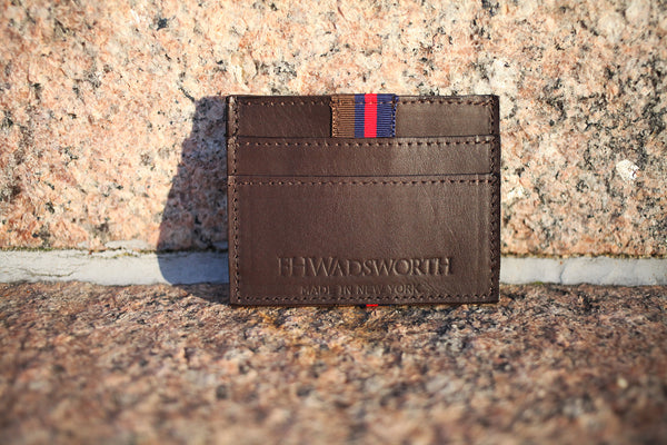 Brown Striped Leather Card Holder - FH Wadsworth
