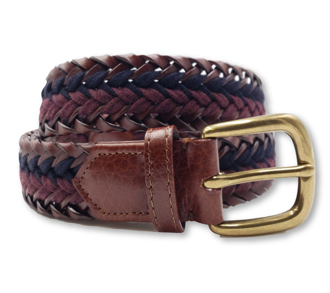 Braided Leather & Navy Burgundy Wool Striped Belt - FH Wadsworth