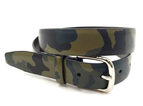 Green Leather Camouflage Print Belt - FH Wadsworth