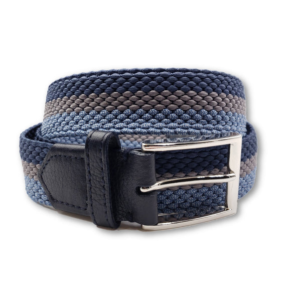 Light Blue & Grey Striped Elastic Stretch Belt - FH Wadsworth