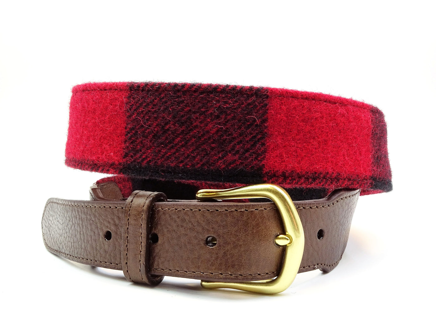 Sequoia Red & Black Wool Leather Tab Belt - FH Wadsworth