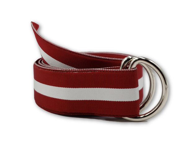 Maroon & White Striped Ribbon Belt - FH Wadsworth