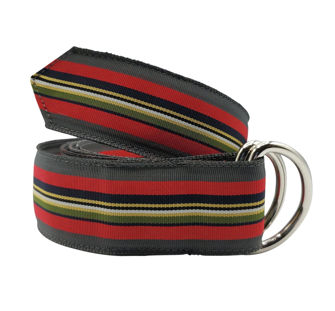 Multi-Colored Grey Black and Red Ribbon Belt