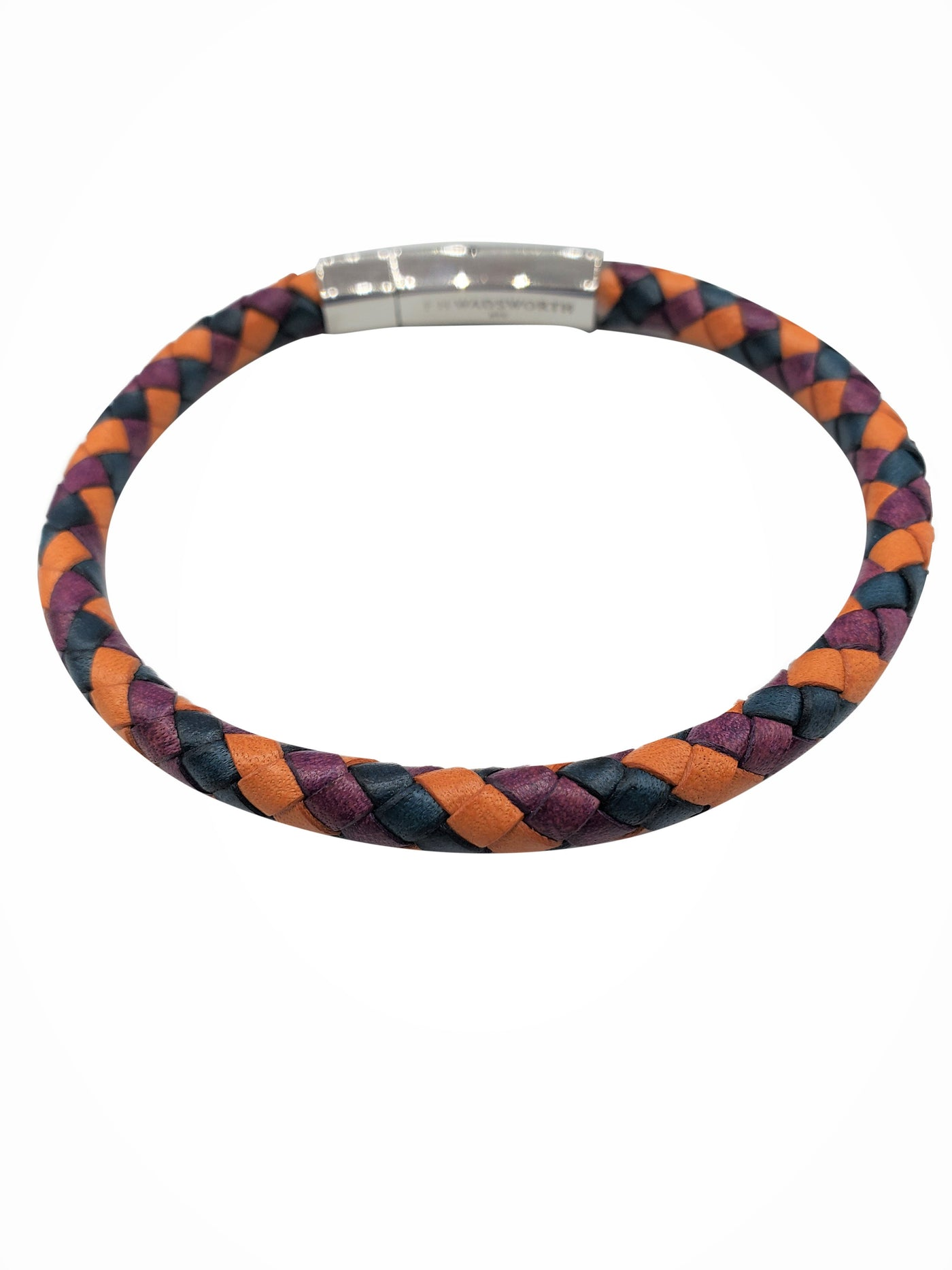 Multicolored Blue Orange Purple Braided Leather Bracelet